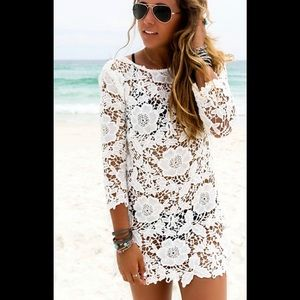 Other - Beach Dress Swimsuit Coverup Lace/Crochet White M